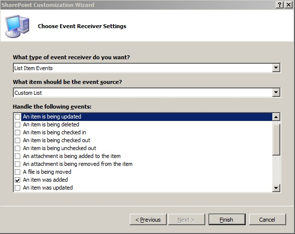 choosing event receiver settings